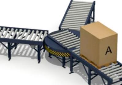 Pallet transfer between unaligned conveyors