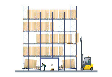 Example of a compact warehouse with Pallet Shuttle and picking level - Mecalux® metal shelves